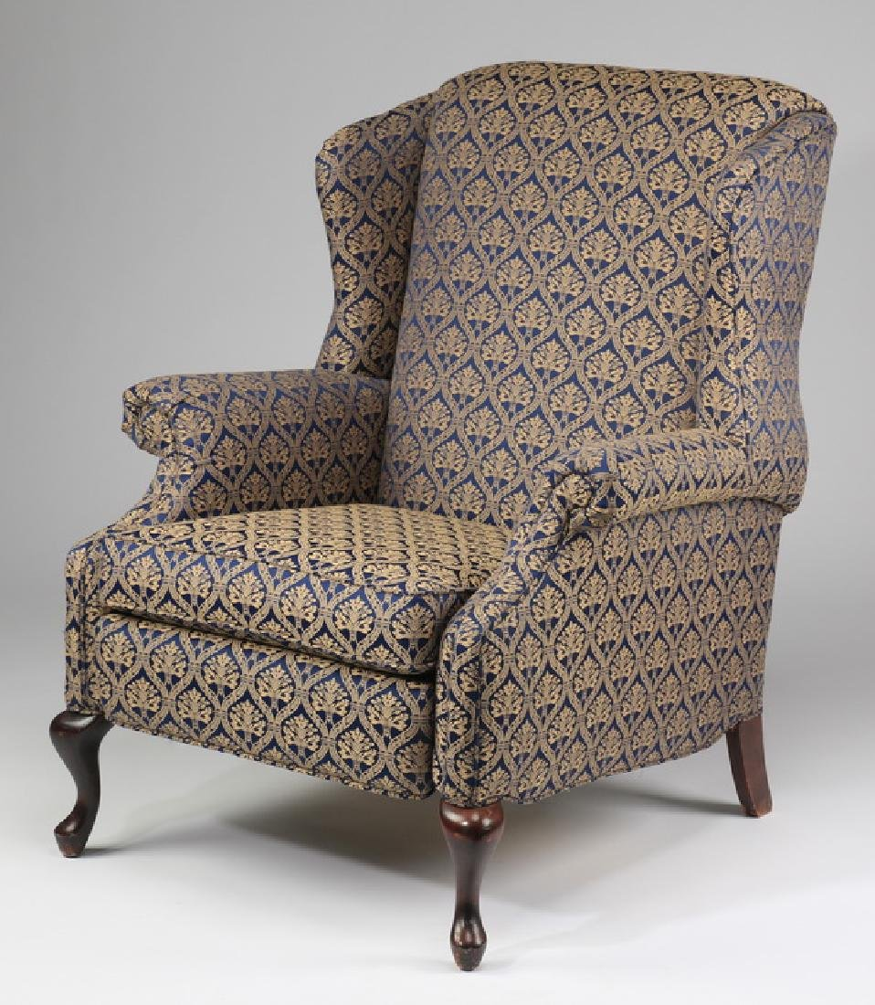 Like-new, Chippendale style wingback recliner
