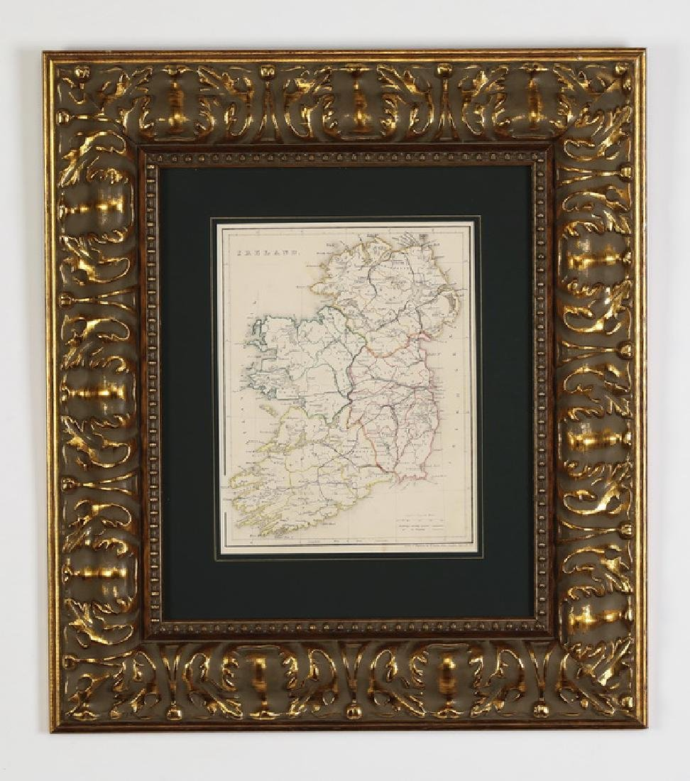 19th c. English steel engraving of map of Ireland