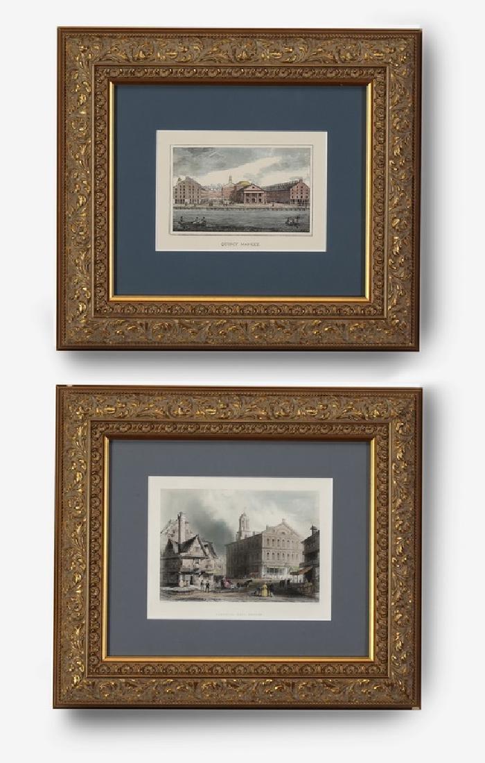 After W. Barlett, colored steel engravings of Boston