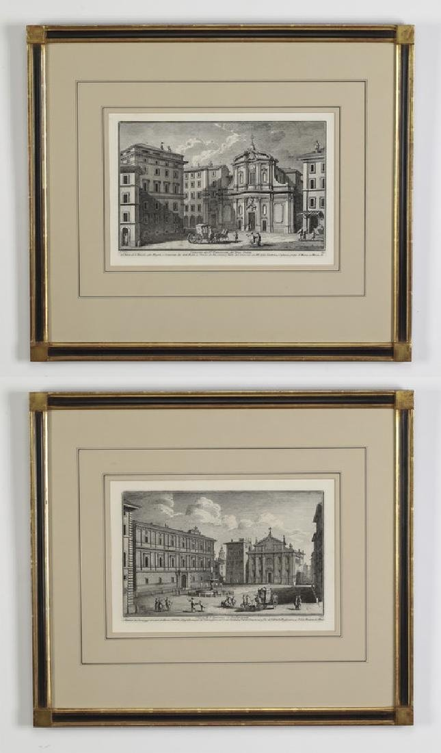 (2) G. Vasi, late 18th c. etchings of Roman churches