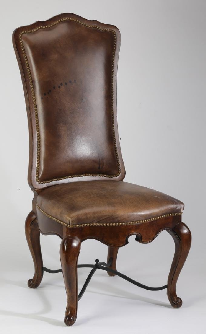 Century leather and mahogany side chair
