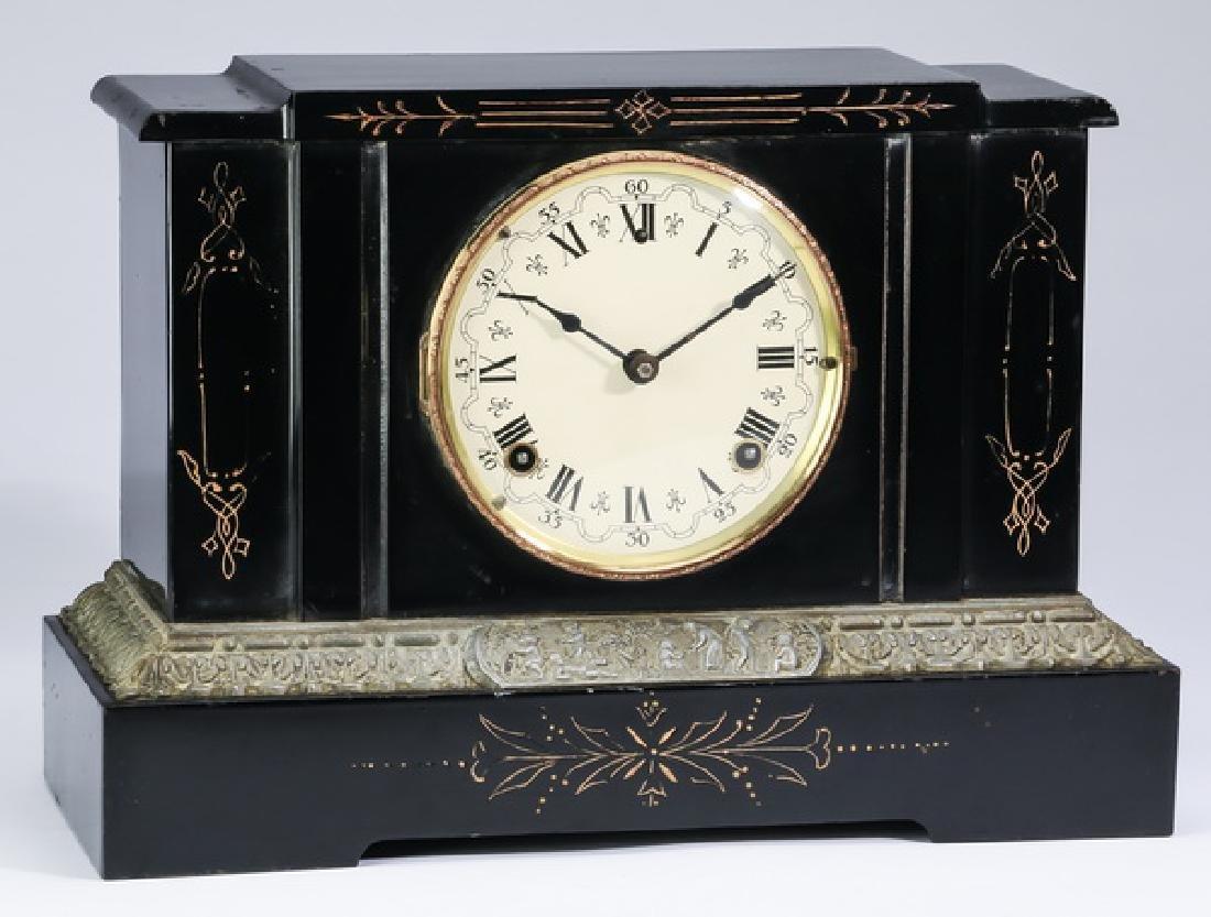"Sessions iron mantel clock, circa 1900, 15""w"