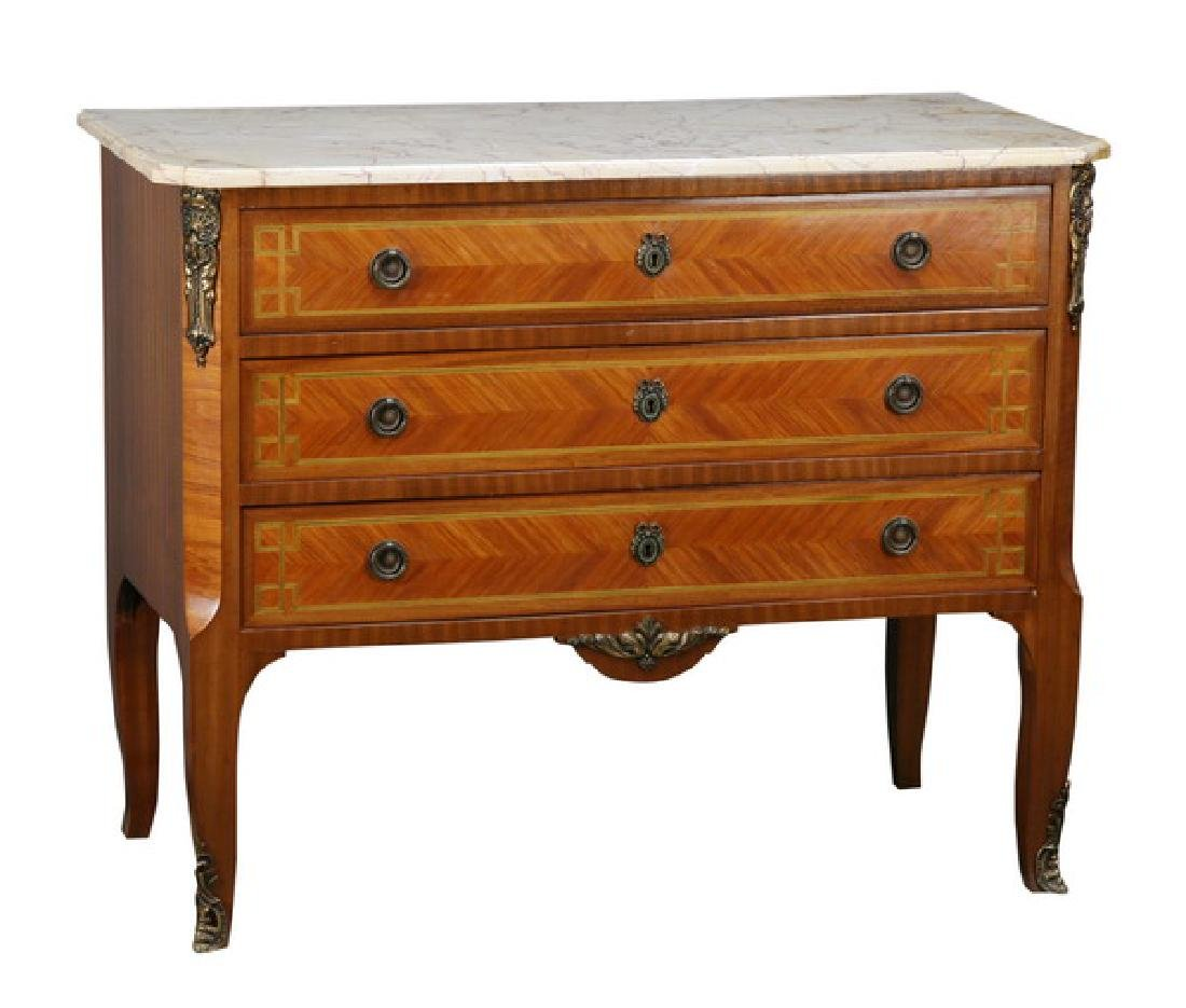 19th c. bronze mounted marble top commode