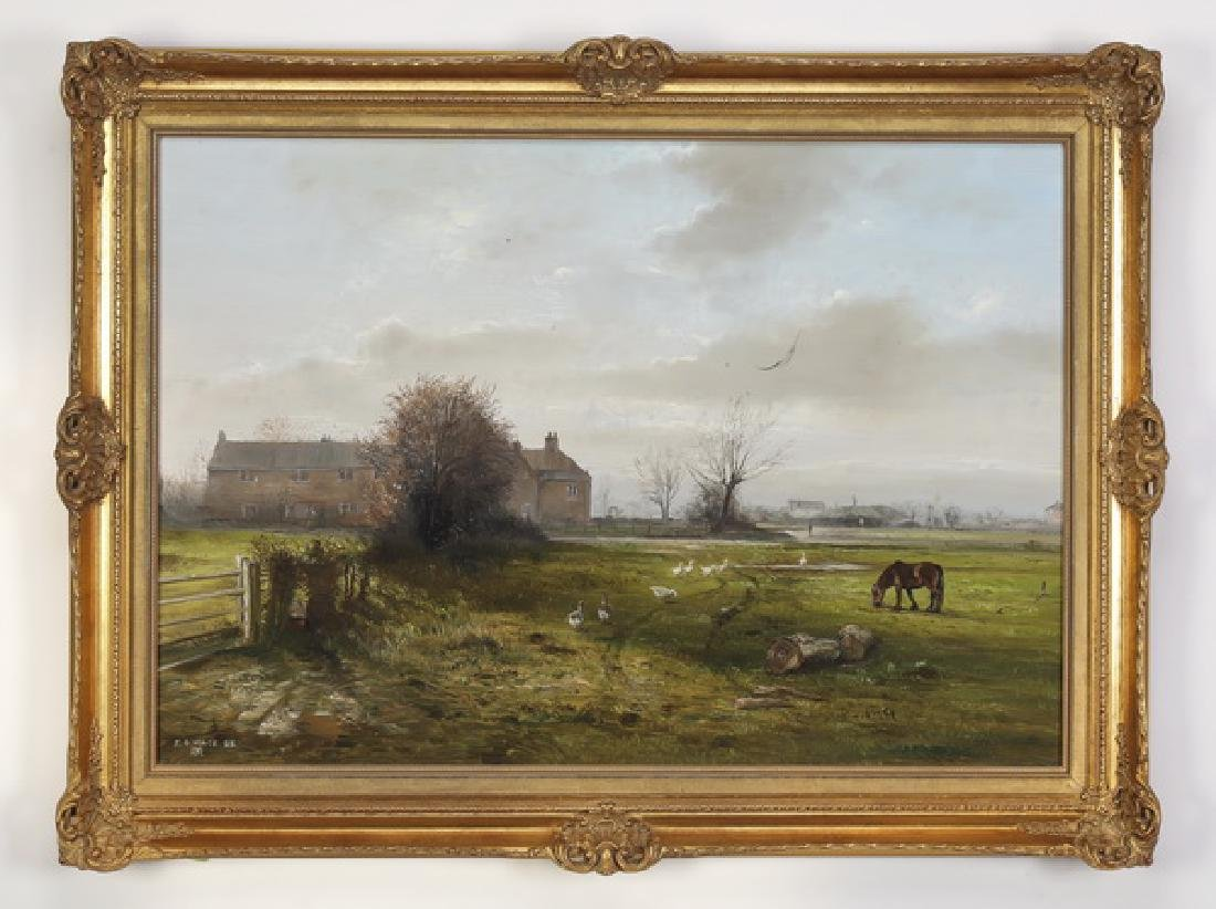British O/b depicting farmyard scene, signed 'Mace'