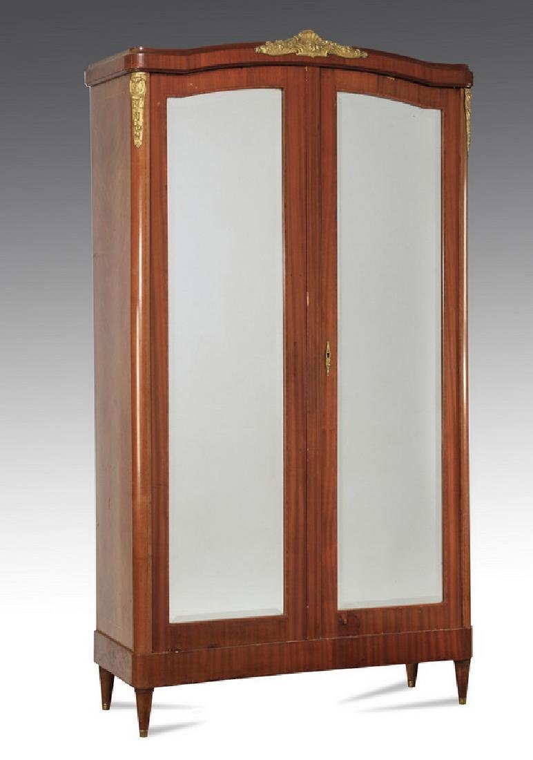 Louis XVI style bronze mounted walnut armoire
