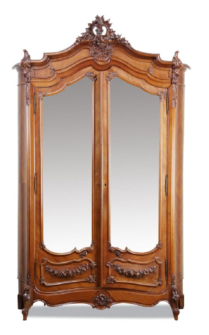 "19th c. French Rococo style walnut armoire, 103""h"