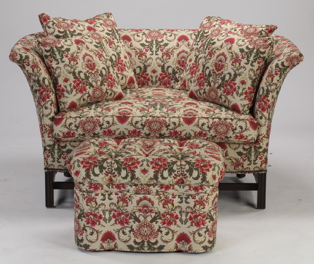 Floral tapestry upholstered settee & ottoman