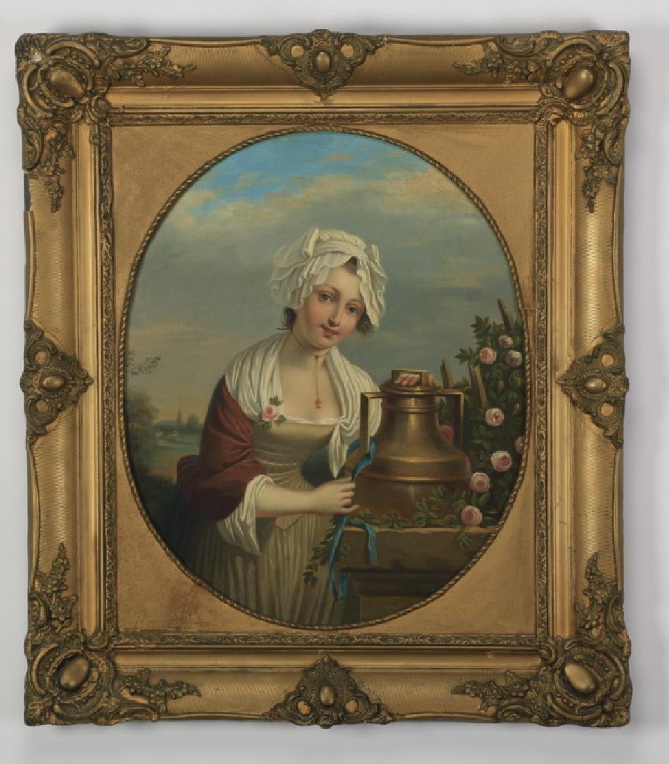 """19th c. Continental O/c portrait of a maiden, 34""""h"""