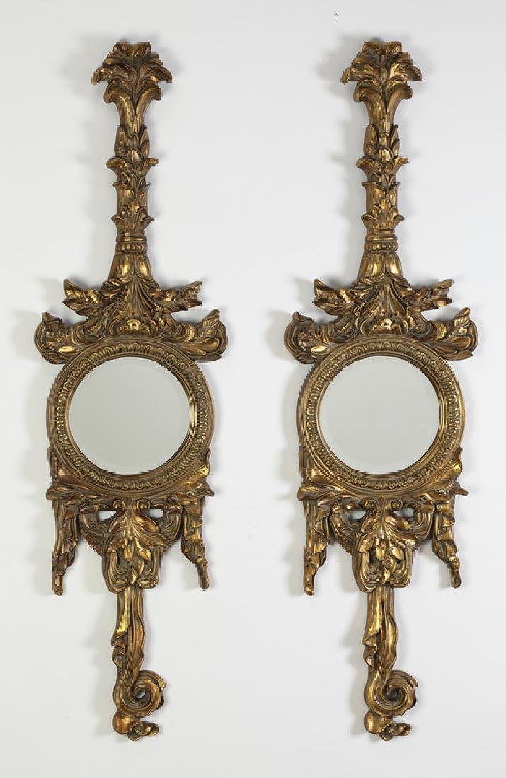 "(2) Neoclassical inspired garland mirrors, 52""h"