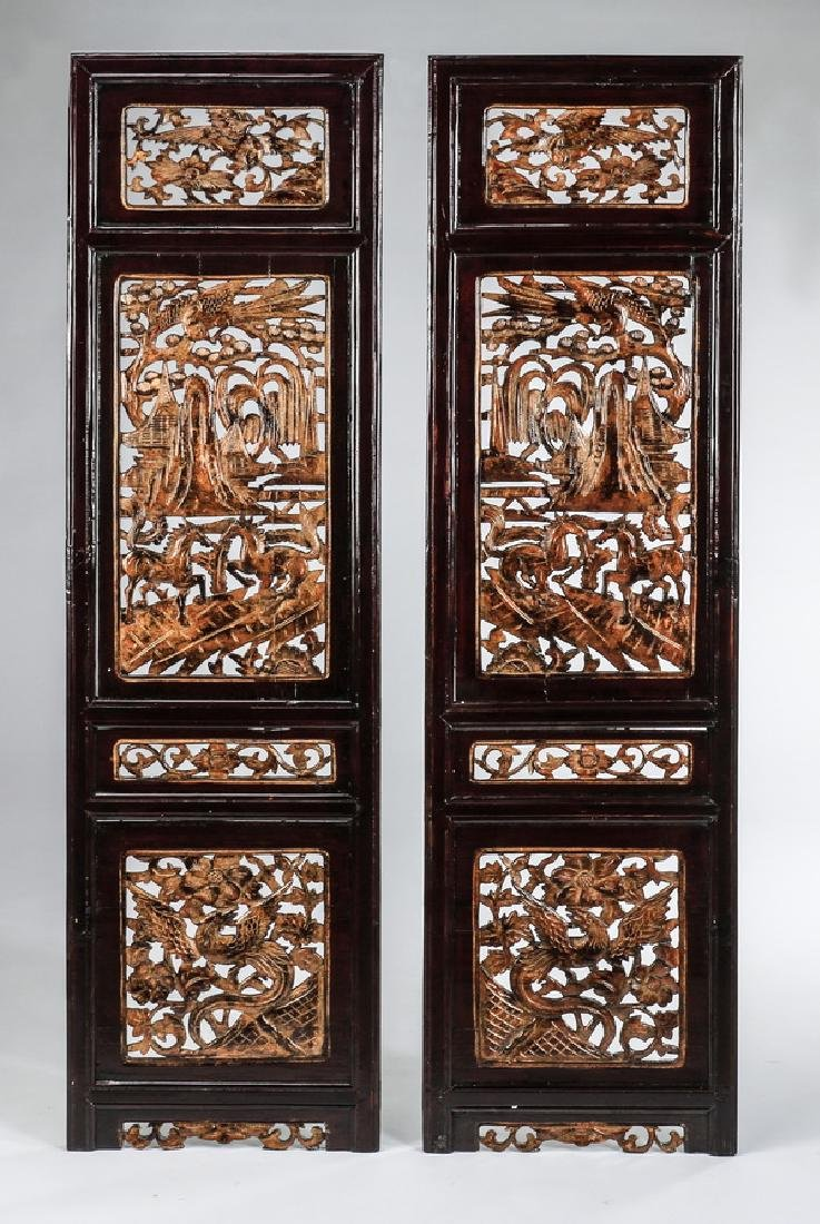 "(2) Carved Asian architectural panels 56""h"