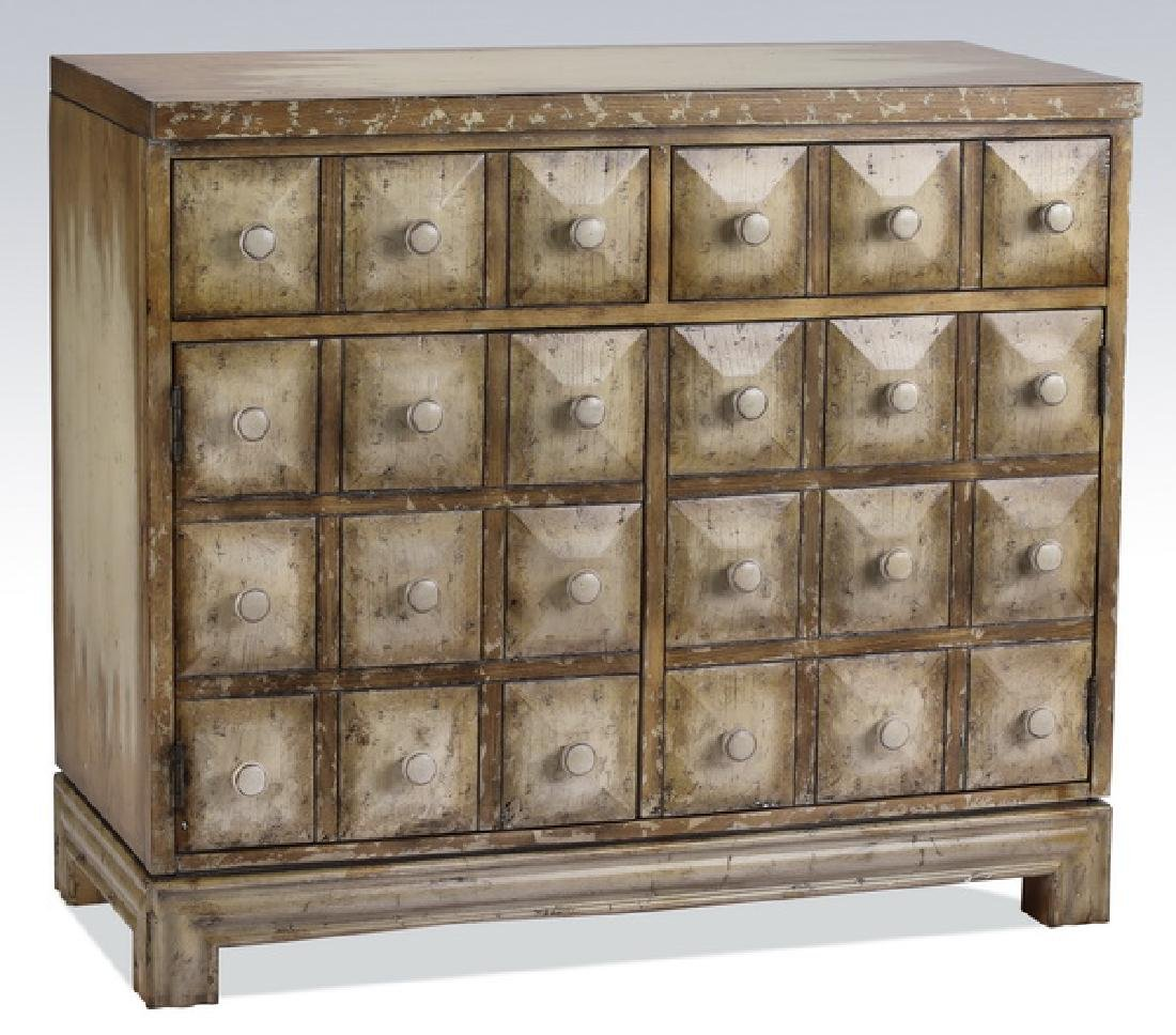 Faux apothecary cabinet with distressed finish