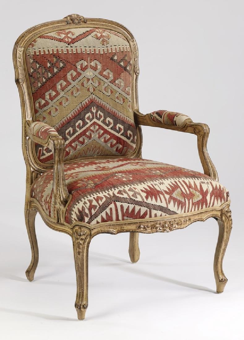 Louis XV-style kilim upholstered armchair