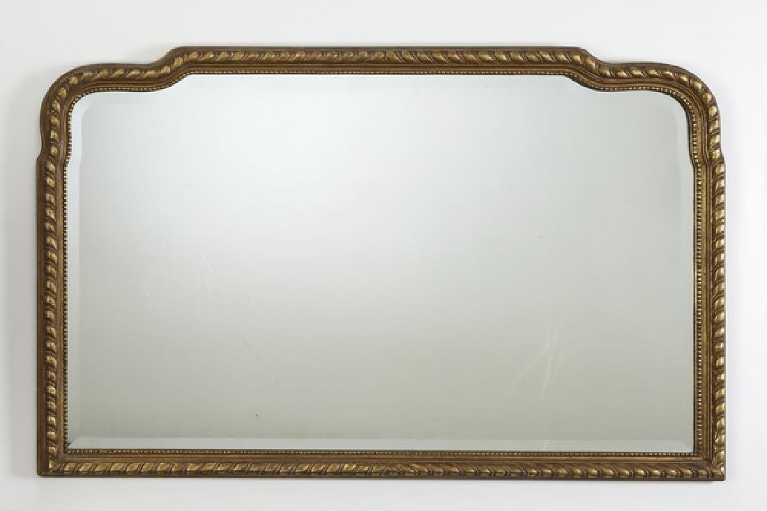 "Gilt wood mirror with gadrooned frame, 52""w"