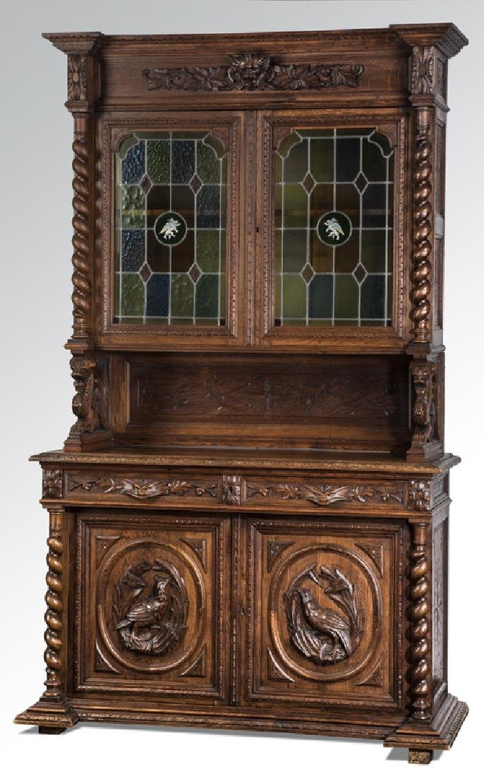 19th c. French carved oak hunt buffet