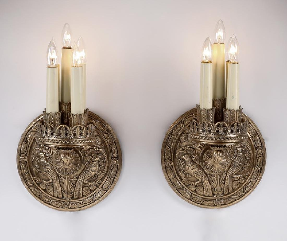 (2) Early 20th c American gilt bronze 5-light sconces