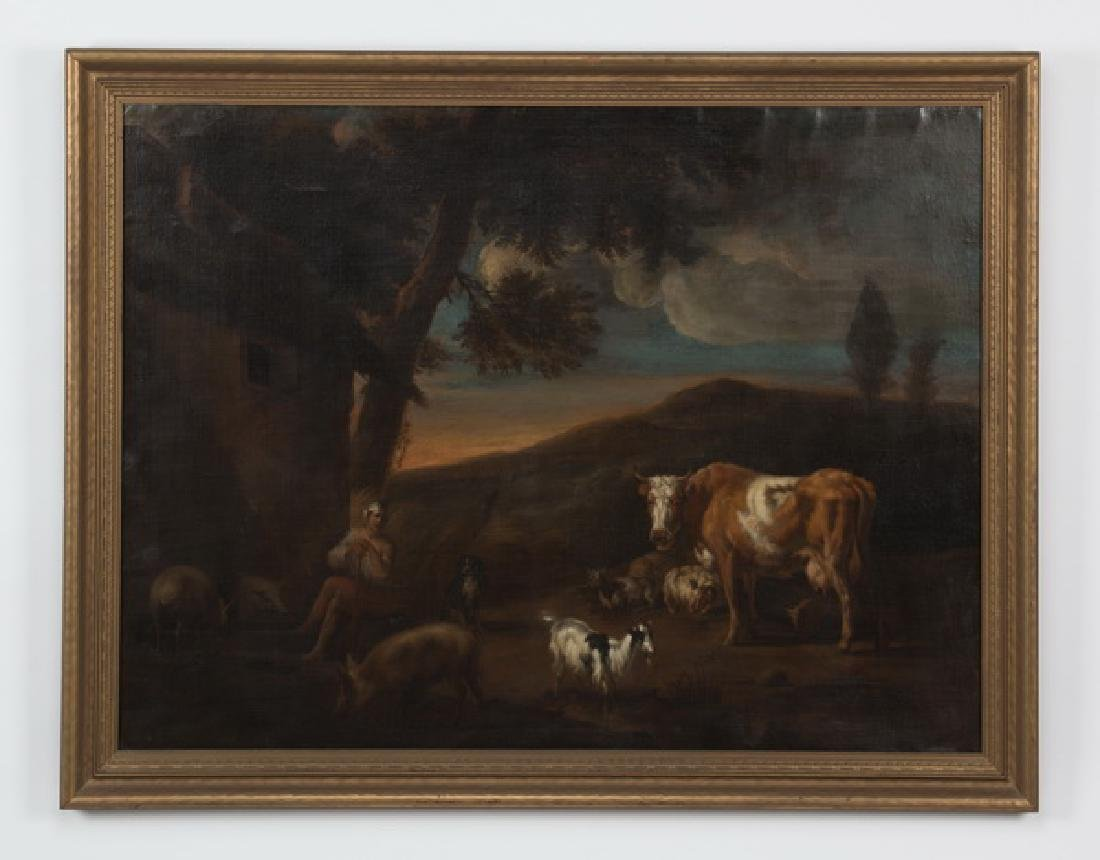 17th c.Dutch O/c, herdsman & livestock, signed, dated