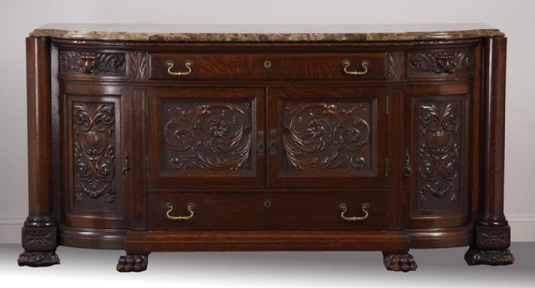 """19th c. American oak marble top buffet, 76""""w"""