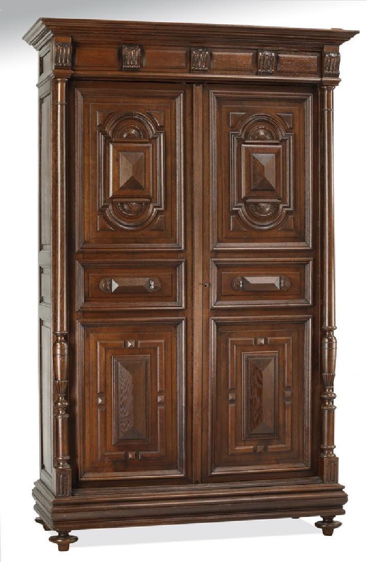 19th c. Baroque Revival carved oak cabinet