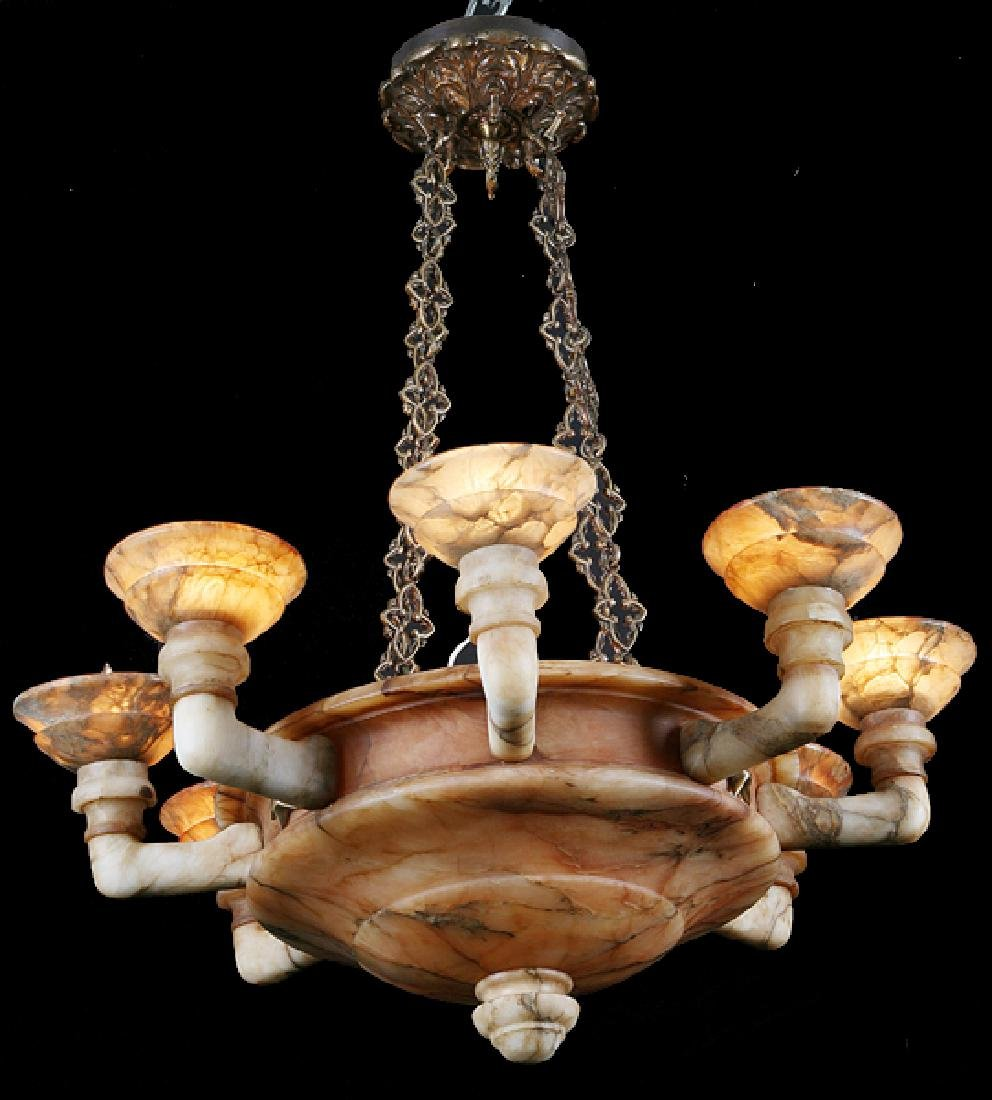 "Continental carved alabaster chandelier, 38""w"