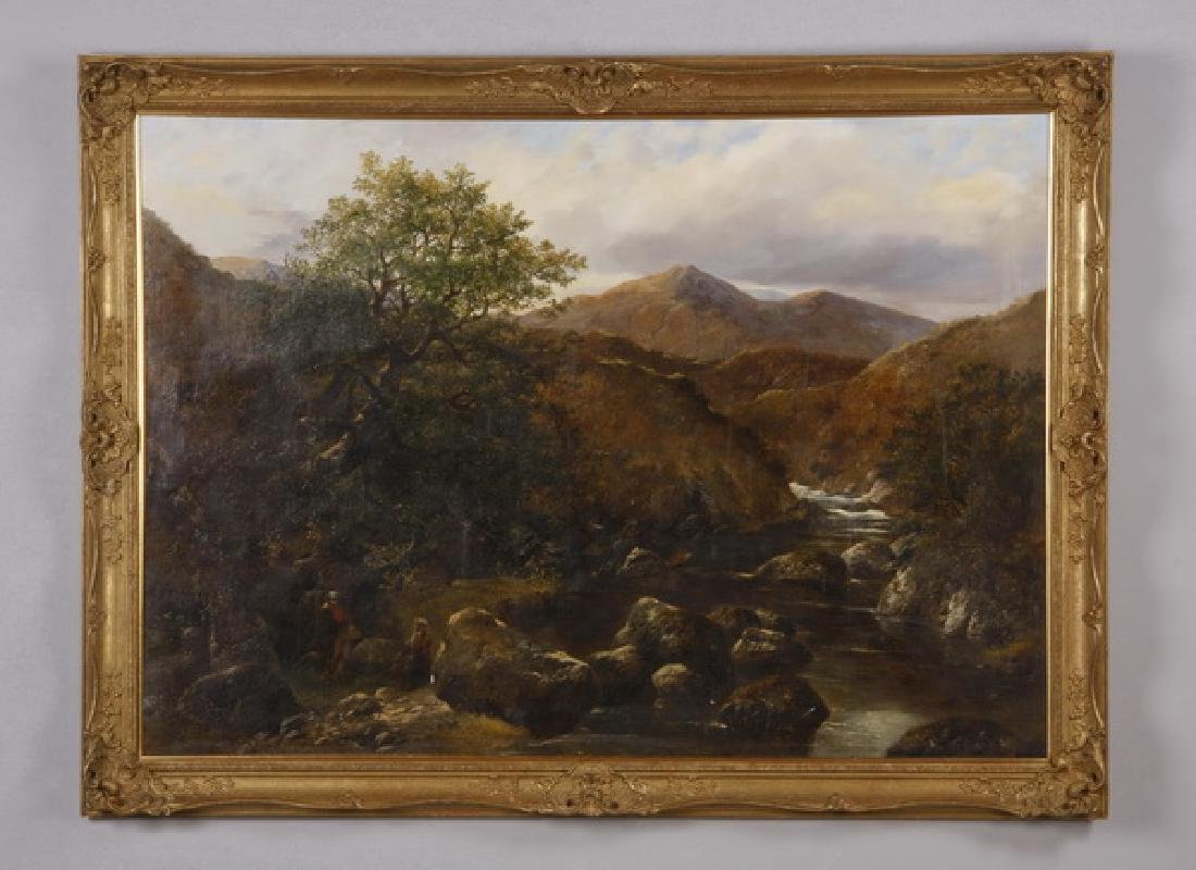 19th c. Continental O/c, landscape w/fishermen signed