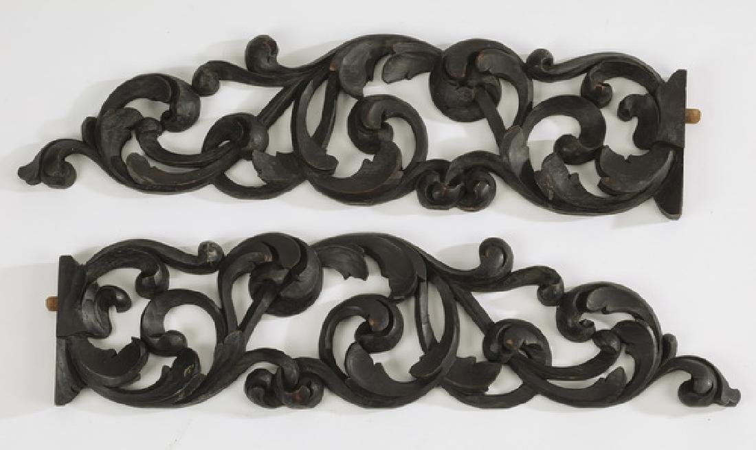 (2) Early 20th c.pierce carved architectural elements