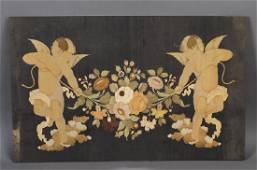 Italian marquetry inlaid panel w/ putti & floral swag