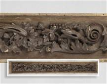 19th c.carved architectural panel w/ acorns & flowers