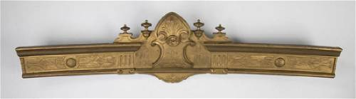 """Gilded 19th c. architectural crest, 49""""w"""