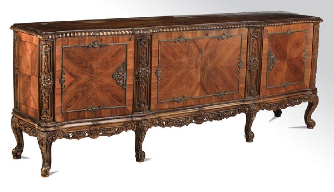 Louis XV inspired Italian parquetry inalid buffet