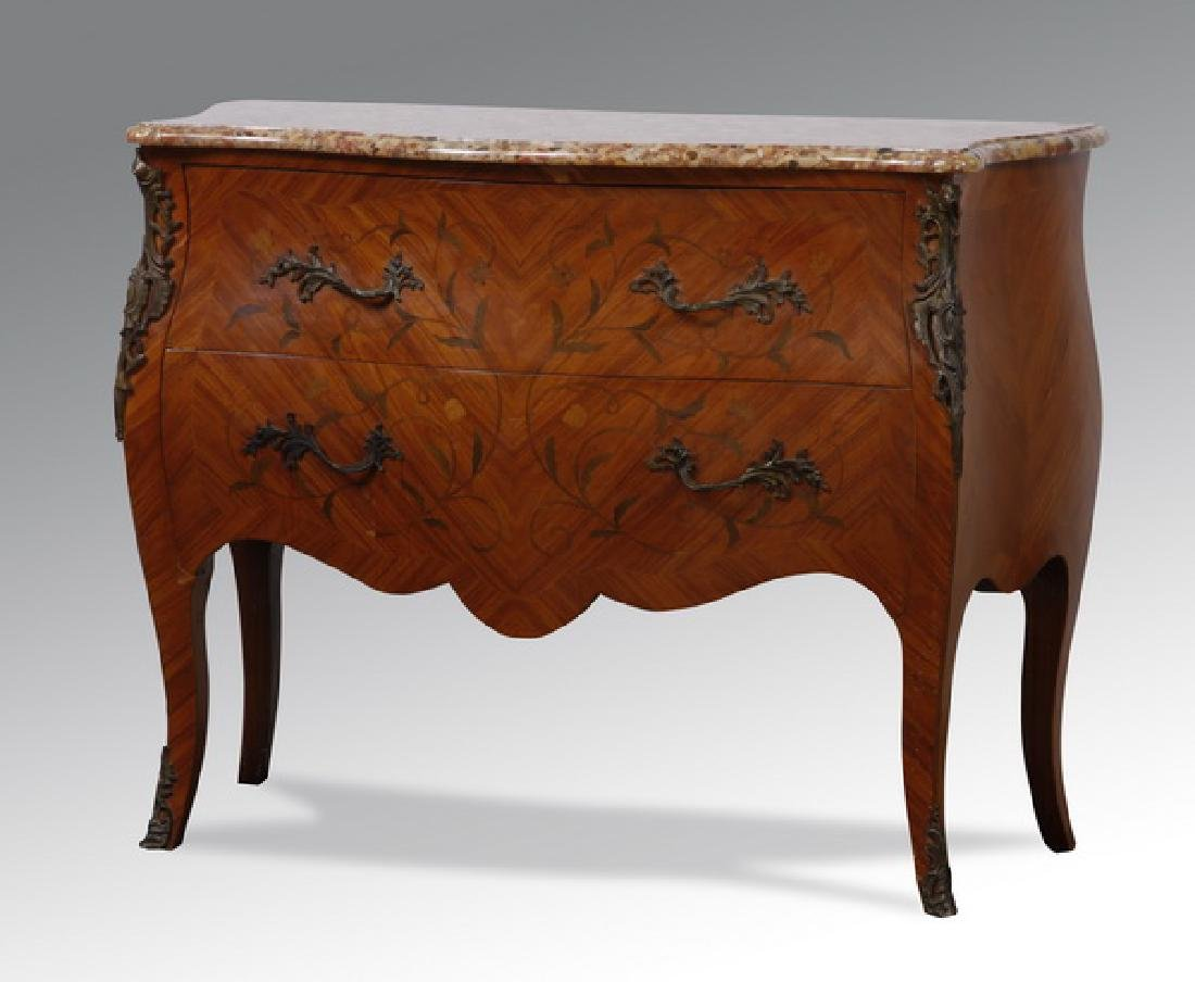 19th c. bronze mounted and inlaid marble top commode