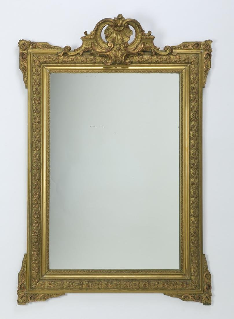 "19th c. carved gilt wood mirror, 47""h"