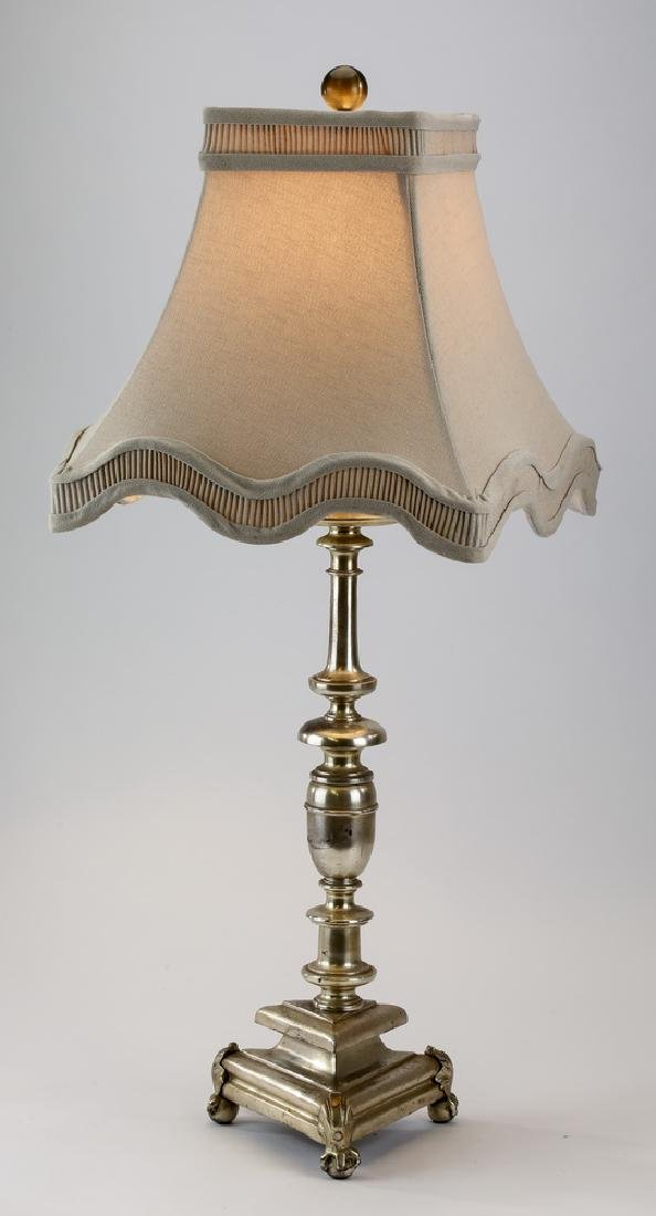 Silvered metal table lamp w/ scalloped shade