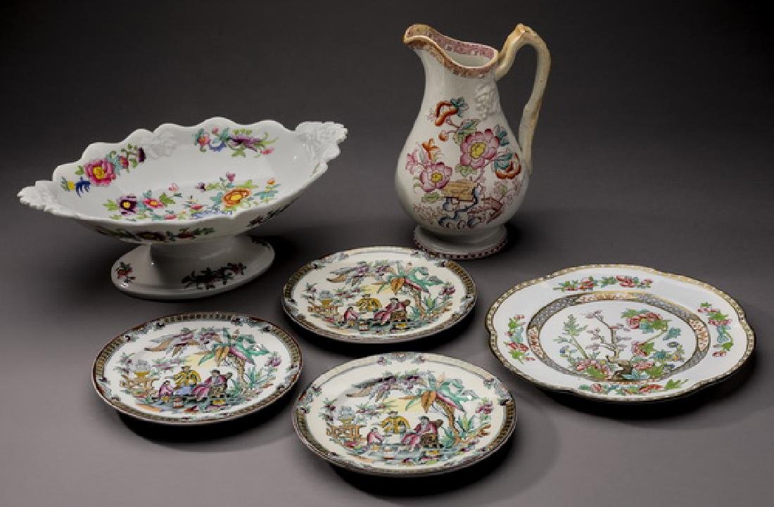 (6) Pcs. 19th c. British porcelain table accessories
