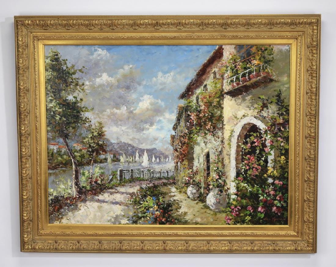 O/c of Impressionistic villas by the water, signed