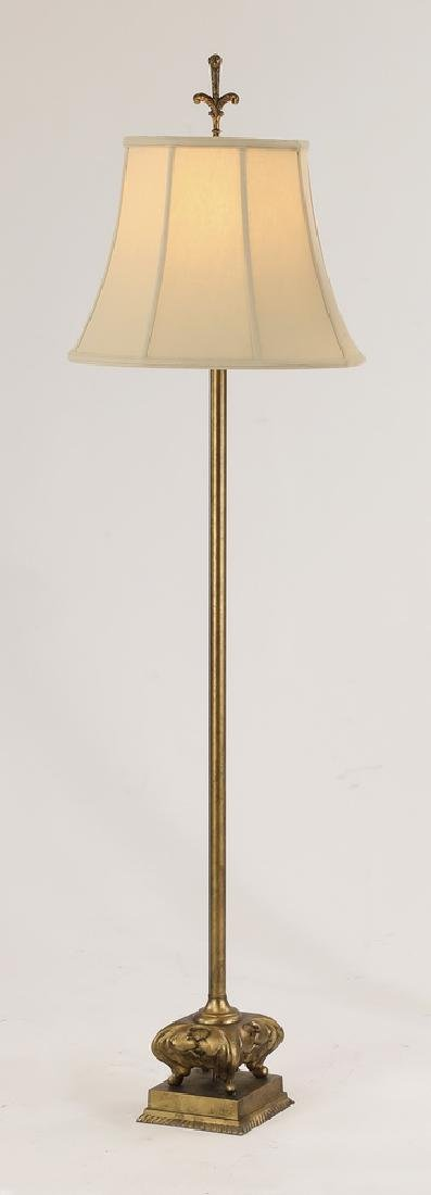 "Contemporary gilt metal floor lamp, 63""h"