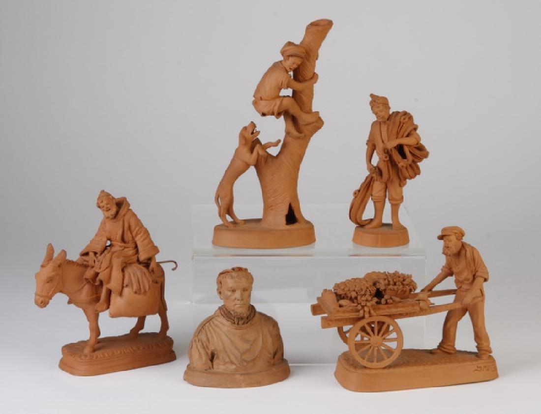 (5) Miniature Italian carved terracotta figures