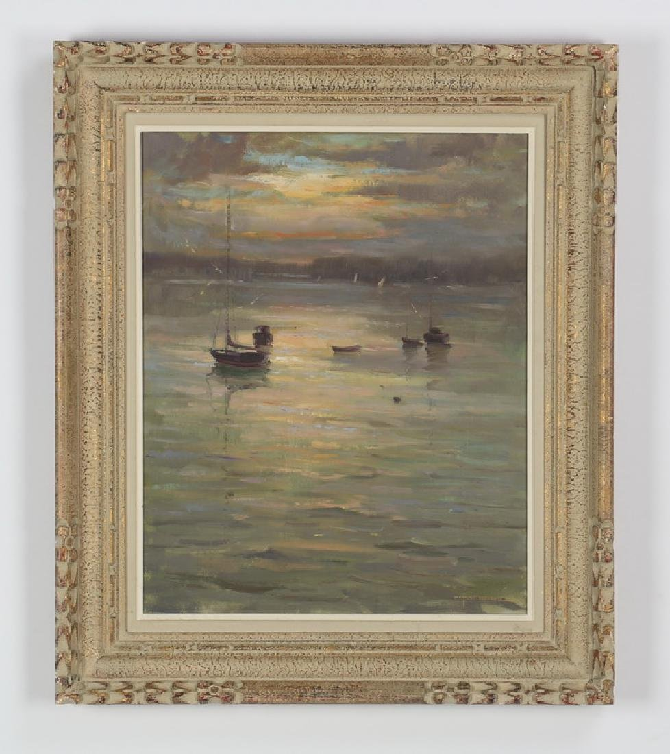 Wayne Morrell signed O/c, 'Harbor Mist & Sunrise'