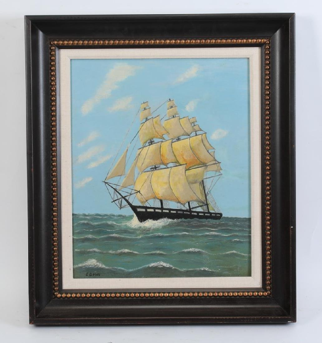 Early 20th c. O/c folk art of clipper ship, signed