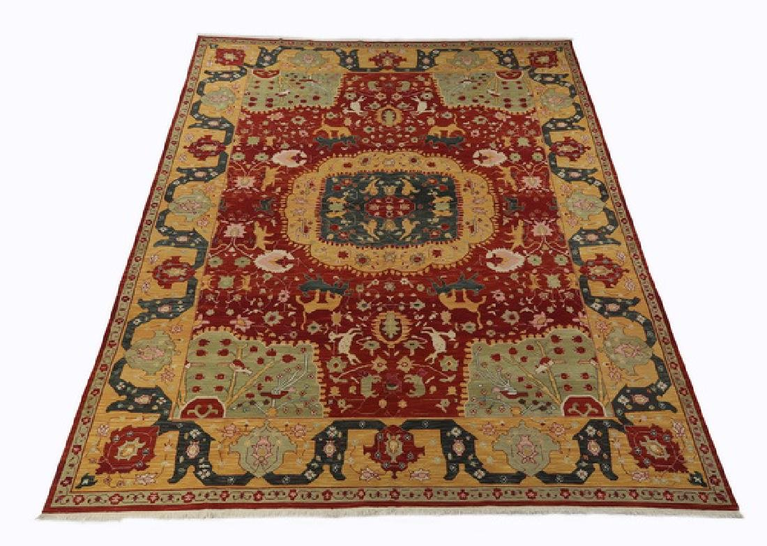 Contemporary hand knotted wool garden rug, 16 x 12