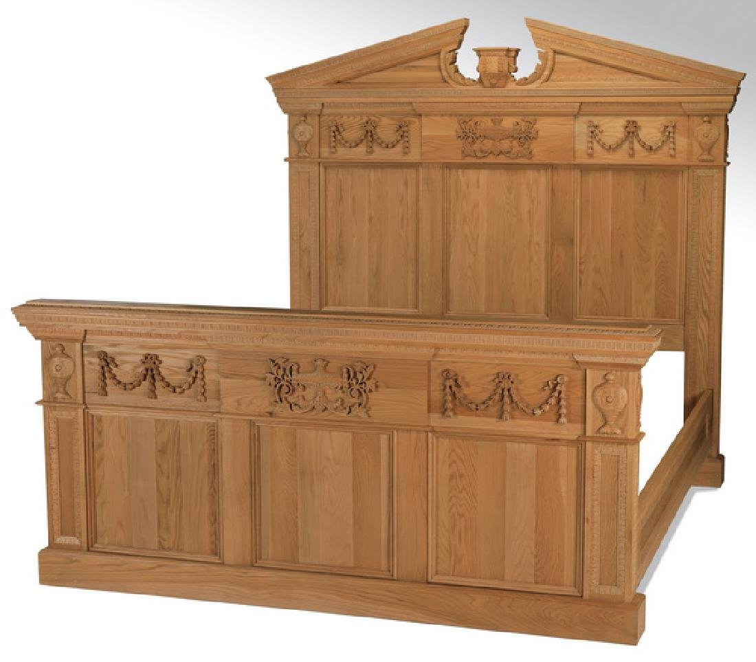 """Neoclassical style king size oak bedstead, 82""""h"""