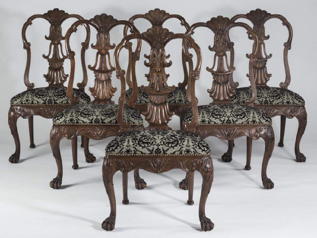 (6) Irish Chippendale style upholstered side chairs