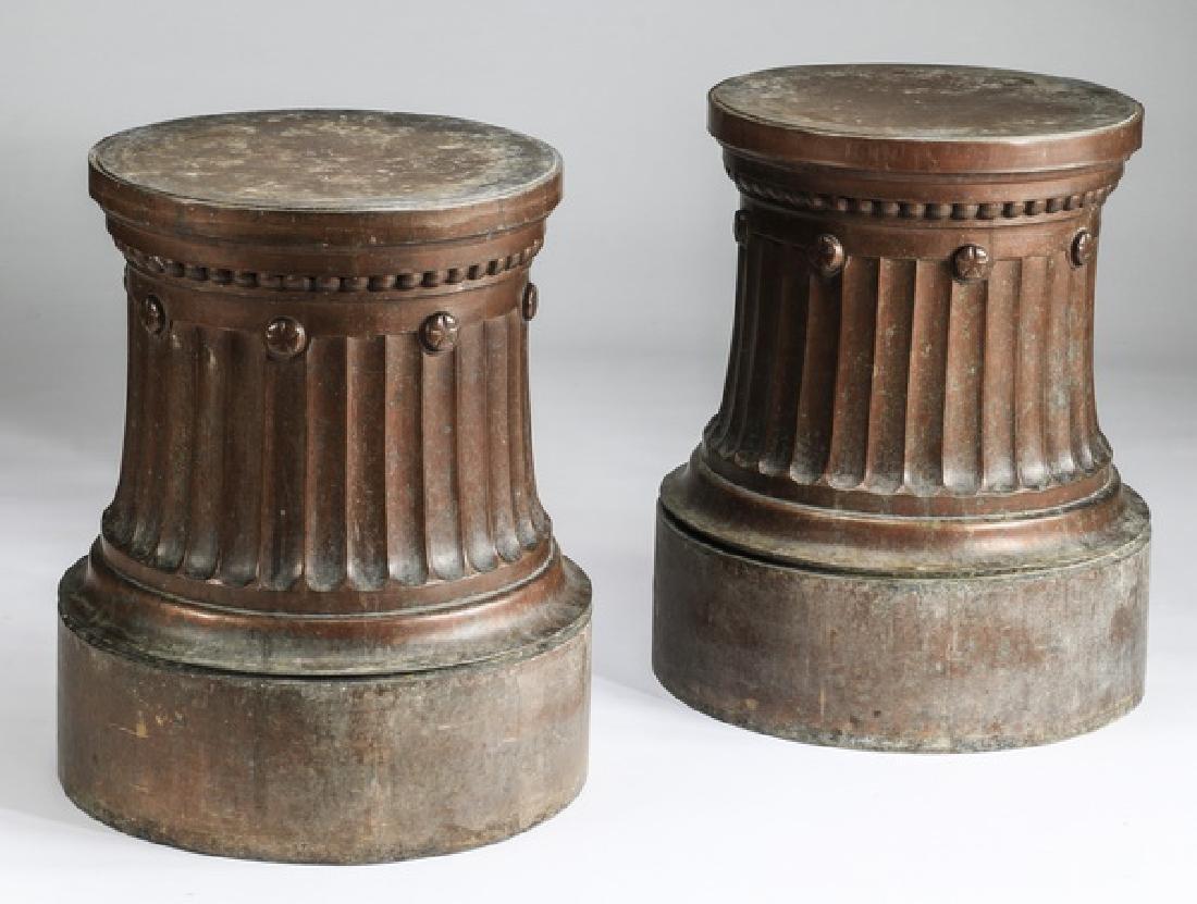 (2) Doric shaped zinc pedestals w/ copper finish