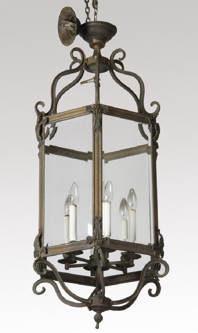 Early 20th c. bronze hanging lantern w/ beveled glass