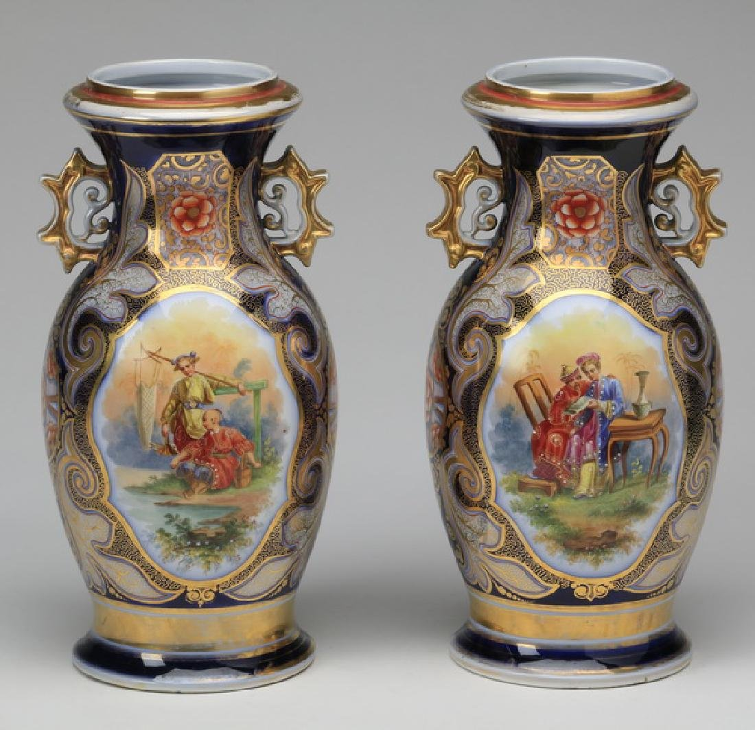 """(2) Early 20th c. Continental porcelain vases, 14""""h"""
