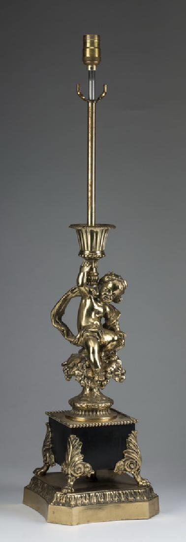 """Continental style gilt brass lamp with putto, 35""""h"""