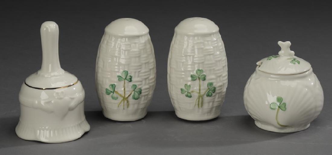 4 Pc. Belleek porcelain table accessories