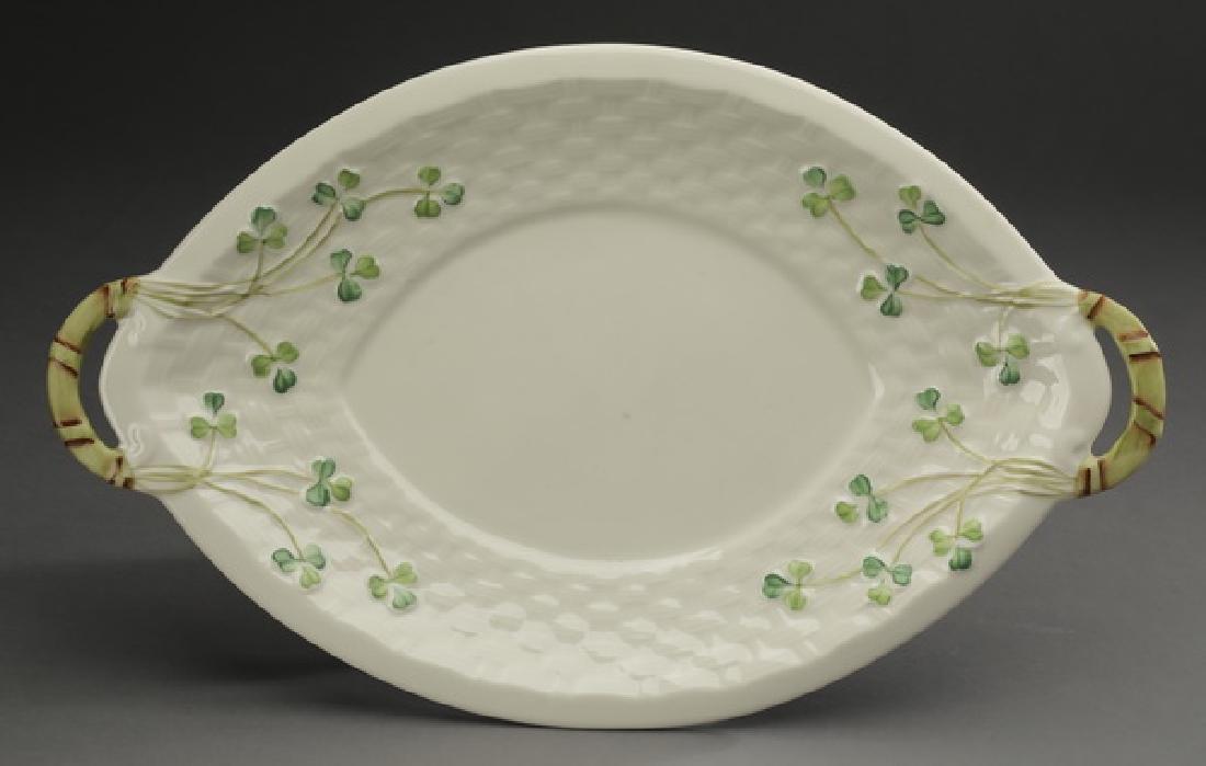 Limited edition Belleek porcelain 'Shamrock' platter