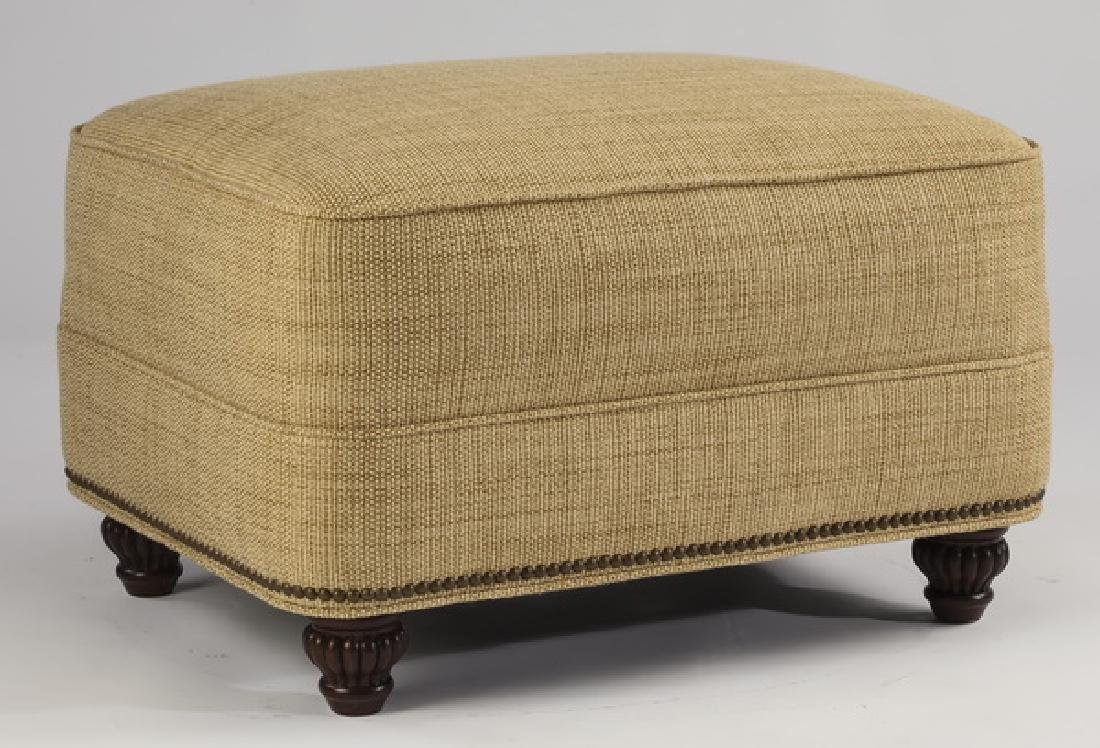 Contemporary tan linen upholstered ottoman