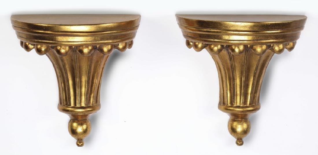 Pair of carved and gilt wall brackets