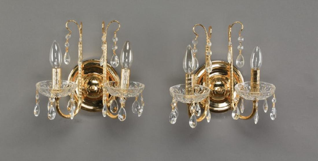 "Pair of Empire style two-arm sconces, 10""h"